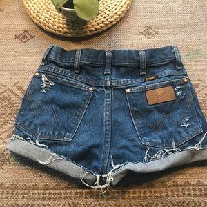 Vintage Wrangler distressed high rise jean shorts